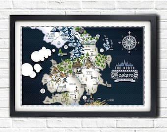 Game of Thrones - The NORTH - LANDSCAPE - Westeros Map - 19x13 Poster