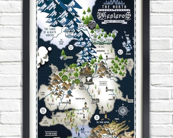 Game of Thrones - The NORTH - PORTRAIT - Westeros Map - 19x13 Poster