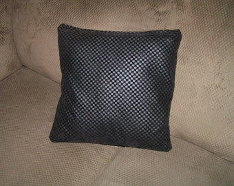 2 black faux leather throw pillow covers /pillow insert not included size 16 x 16