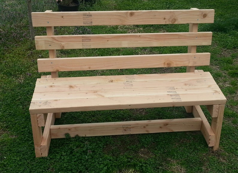 Charmant White Wood Garden Bench Solid Handmade Bench With Back