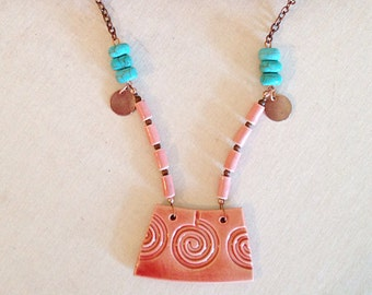 Copper and Clay Boho Mixed Media Necklace