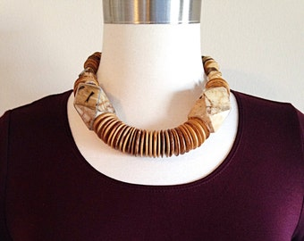 Vintage Statement Wood Chunky Choker Necklace