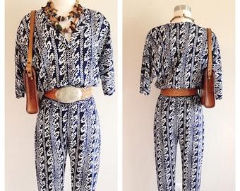 SALE! Vintage 1990s Boho Blue Jumpsuit
