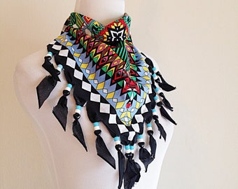 Vintage 1980s Wild West Crazy Print Beaded Kerchief Neck Scarf