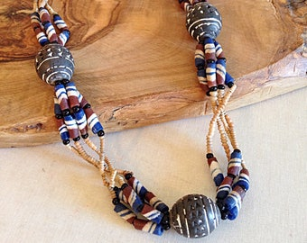 Vintage Tribal African Trade Bead Necklace Earth Tones
