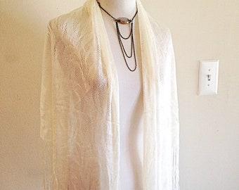 Beautiful Vintage Ivory Lace Boho Wedding Shawl very Misty Day