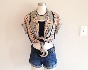 Vintage 1980sCrazy Animal Print Jungle Tie Waist Crop Top Shirt Blouse Size Medium