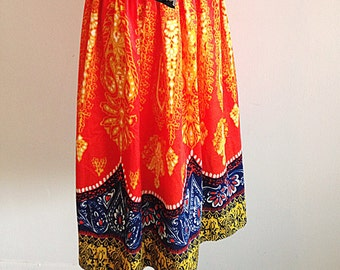 Vintage Colorful Hippie Gypsy Skirt Folkloric