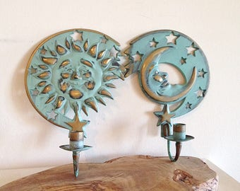 Vintage Celestial Patina Brass Sun and Moon Wall Sconces Set of Two