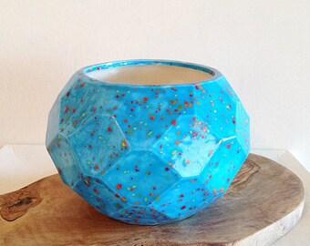Vintage Faceted Geometric Planter 1980s Ceramic Pottery