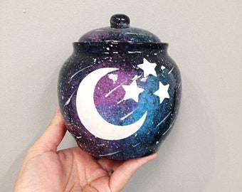 Witch's Spell Jar Moon and Stars Galaxy Design MADE TO ORDER