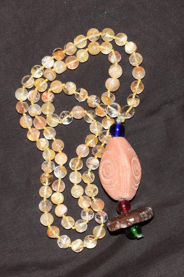 047d78afa927 Himalayan gold quartz    1081 bead rosary  Necklace