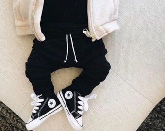 Black Basic Drawstring Baby Harem Pants