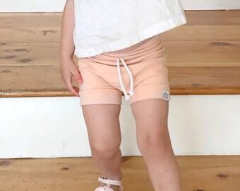 Blush Pink/ Peach Drawstring Shorties/ Bummies