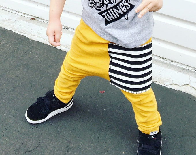 Featured listing image: Mustard Sidecar Pocket Baby + Toddler Harem Pants