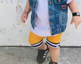 Mustard Striped Harem Shorts