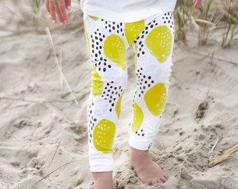 Baby Leggings | Lemon Leggings | Baby Girl Leggings | Gender Neutral Baby Clothes | Baby Pants | Baby Girl | Tropical | Lemon, Leggings