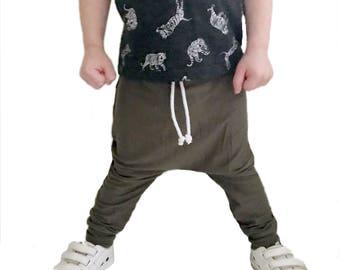 Army Green Drawstring Baby + Toddler Harem Pants