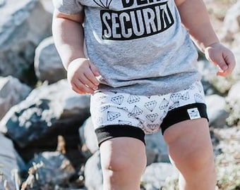 Diamond, Baby Bummies, Shorties | Baby Clothes | Bloomers | Baby Boy | Shorts | Toddler Shorts | Diaper Cover | Monochrome Diamond Shorties