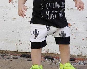 Monochrome Cactus Baby + Toddler Harem Shorts