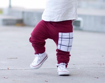 Wine + Brooklyn Plaid French Terry Harem Pants