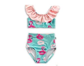 e99de848b4 Flamingo Float Bikini Baby Toddler Kids, High Waist Ruffle Bikini, Flamingo  Donut Baby Swimsuit, Baby Bathing Suit, Toddler Two Piece Swim