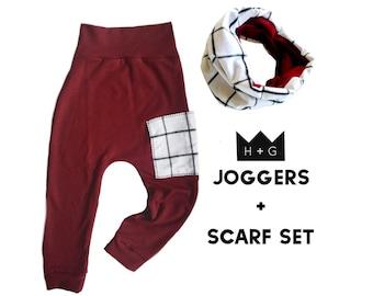 Wine Brooklyn Plaid Pants + Scarf Gift Set