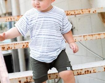 Basic Olive Green Drawstring Harem Shorts