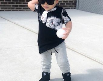 Basic Grey Drawstring Baby + Toddler Harem Pants