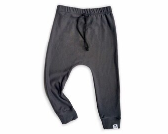 Basic Carbon Drawstring Harem Pants