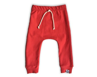 Basic Red Drawstring Harem Joggers
