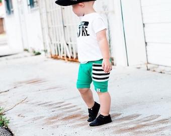 "Emerald + Striped ""Sidecar"" Pocket Harem Shorts"