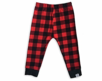 Buffalo Plaid Leggings-Baby + Toddler Leggings-Baby Joggers-Plaid Leggings Kids-Woodland Birthday Outfit - Lumberjack Baby-Plaid Baby Pants