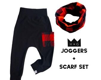 Black Buffalo Plaid Pants + Scarf Gift Set