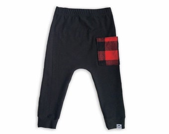 Black + Buffalo Plaid Sidecar Harem Pants