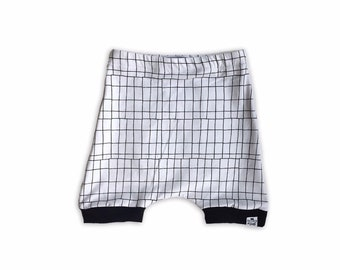 "Monochrome Crosshatch ""Tech Grid"" Harem Shorts"