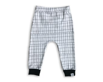 Urban Monochrome - Toddler Harem Pants - Baby Harem Pants - Baby Boy Leggings -Monochrome Kids Pants-Hipster Baby Clothes