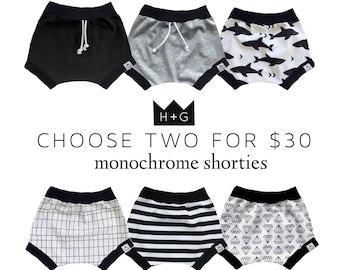 SALE 2-PACK, Bummies, Shorties   Bloomers   Baby Boy Gift   Baby Clothes   Baby Boy   Toddler Shorts   Diaper Cover   Monochrome Shorties