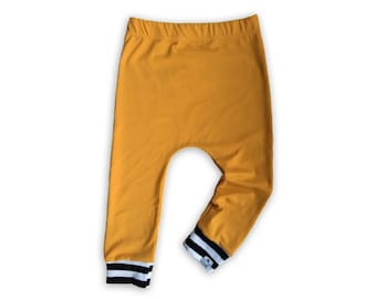 Mustard + Stripe Drawstring Harem Pants
