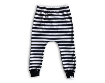 e2cbf15cca17c Striped Harem Pants-Toddler Baby Harem Pants or Baby Leggings -Joggers-Unisex  Baby Clothes-Black & White Stripe Pants