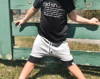 Grey and Black Baby + Toddler Harem Shorts