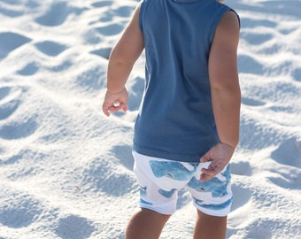 Watercolor Whale Baby + Toddler Harem Shorts
