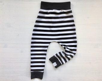 Monochrome Black & White Stripe Baby + Toddler Harem Pants