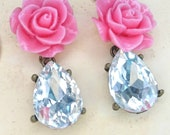 Pink Rose Earring w/ Shabby Chic Flower and Crystal Dangle