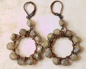 Smokey Green Beaded Hoop Earrings wire-wrapped glass on hand hammered copper hoops