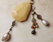 Moukaite Stone, Fresh Water Pearl & Filigree Brass Necklace