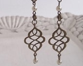 Antiqued Eternity Knot and Pearl Dangle Charm Earrings Shabby Chic Boho Bride Jewelry