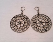 Ancient Bronze Fortune Wheel Pendant Earrings Rustic Shabby Chic Boho Jewelry