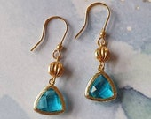Aquamarine  Triangular Gem Earrings with 24 k Gold Plated Jewel Bezel Drop Earrring