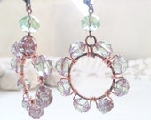 Green Pastel Beaded Hoop Earrings wire-wrapped glass on hand hammered copper hoops